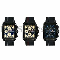 Fashion Mens Square Date Week Dial Leather Band Sport Quartz Analog Wrist Watch