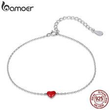 Bamoer classical 925 Sterling Silver Bracelet Enamel flipped heart Women Jewelry