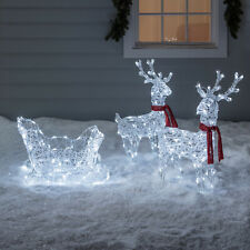LED Acrylic Outdoor Christmas Figure Reindeers & Sleigh Battery Timer Lights4fun
