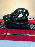 "Vintage Black Panther Cat 9"" TV Lamp Planter 1950s MCM Art Deco Ceramic RETRO"