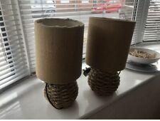 2x / Pair Of Rattan Natural Linen Next Lamps