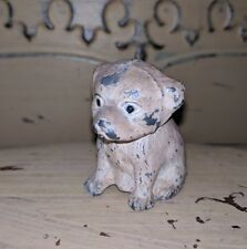 "ANTIQUE HUBLEY METAL CAST MINI DOG STATUE PUPPY MINIATURE TOY 2"" FIGURINE USA"