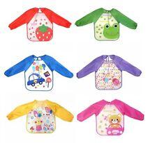 Long Sleeve Waterproof Baby Children Boy Girl Feeding Apron Bib Variety Designs
