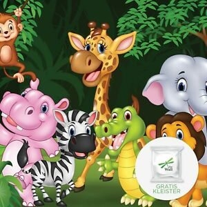 Tapete KINDERZIMMER TIERE Vlies Fototapete Dschungel Tiere Afrika Zoo Affe 45