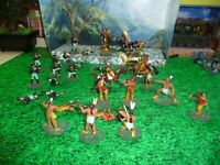 INDIANS US CAVALRY BATTLE LOT ,PAINTED 1/32 PLASTIC -LOOK!!@@@