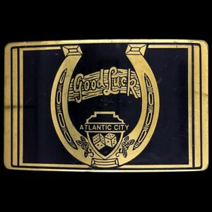 Vtg 80s Atlantic City New Jersey Dice Casino Gambler Gift NOS Brass Belt Buckle