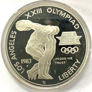 Coin Silver 900 1983 Olympiad Dollar Coin COA