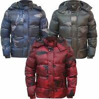 Ex-Store Mens Winter Hooded Puffer Padded Camo Padded Bomber Lined Jacket New