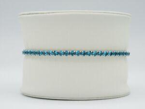 Womens Girls Shimmering Shiny Blue Stones Sterling Silver 925 Tennis Bracelet