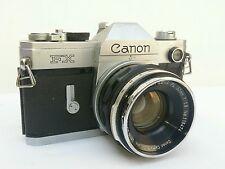 MACCHINA FOTOGRAFICA ANALOGICA CANON FX + OBIETTIVO CANON LENS FL 50mm 1:1.8