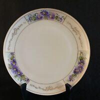 "Antique Haviland France Limoges 7.5"" Plate Purple Flowers Gold Trim Hand Painted"