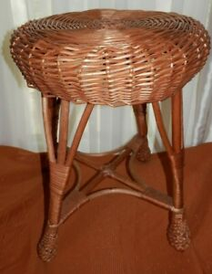 Vintage Wicker Foot Stool/Side Table - Boho Style