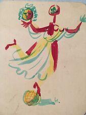Très beau dessin aquarelle gouache original  Hella Guth Abstraction cubiste 1960