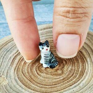 Dollhouse Miniatures Ceramic Tiger Cat Kitten Porcelain Figurine Mini Tiny 1:12