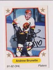 91/92 Andrew Brunette Owen Sound Platers Autographed OHL Hockey Card