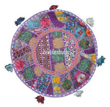 """22"""" Embroidered Round Floor Cushion Pillow Pouf Cover Indian Decor Purple Color"""