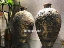 Chinese Royal Pure SIlver 24K Gold Handwork dragon phoenix fairy maiden Vase pot