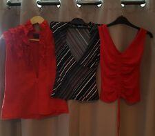 Womens Ladies Bundle x3 Summer Sleeveless Blouse Tops Red Black Size 10
