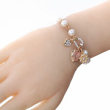 Women Charm Pearl Gold Plated Chain Crystal Love Hearts Dangle Bracelet Bangle
