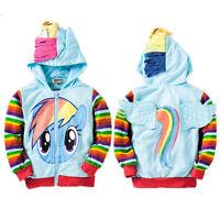 Baby Girls My Little Pony Hoodies Kids Cartoon 3D Ear Wings Jumper Zip Up Jacket