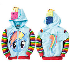 Baby Girls My Little Pony Hoodies Cute Cartoon Zip Up Jacket Jumper 3D Ear Wings