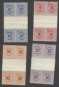 Germany Wurttemberg revenue stamps 4v gutter blocks of 4 MNH (16)