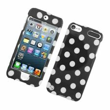 For Apple iPod Touch 5th Gen Black White Polka Dots Hard Plastic Case Cover