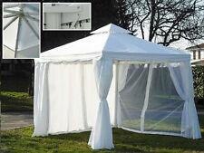 DISRAELI Gazebo Bianco Alluminio Copertura Poli e PVC + Tenda e Zanzariera 3x3m