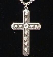 Vintage Crucifix Sterling Silver floral pedal vine leaf Cross Necklace pendant