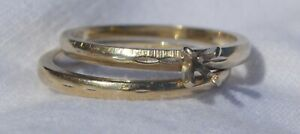 14k Solid White Gold Wedding Ring Set, Band, Diamond Solitaire Sz 6.25 NOT SCRAP