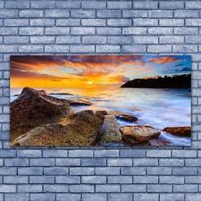 Acrylglasbilder Wandbilder aus Plexiglas® 140x70 Steine Meer Sonne Landschaft