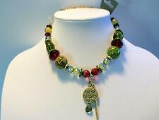 PILGRIM DANISH DESIGN RED AND GREEN MULTIMEDIA NECKLACE GOLDTONE