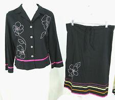 Usindo Womens M Skirt & Top Shirt Jacket 2pc Black Cotton Embroidery Boho NEW