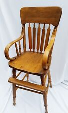"""Antique Hand Made Oak Bentwood Wood High Chair 38"""" in Back You Pick Up or Uship"""