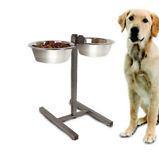 Raised Dog Bowls Double Diner Food Water Feeding Adjustable Stand Dishes Large