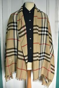 "Vtg BURBERRY London Cotton Camel Check Huge Shawl Scarf Wrap 74"" x 26.5"""