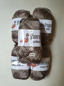 10 x 100g balls Flamingo Cotton Lase Silky Shiny Beige Ribbon Yarn / Wool
