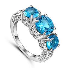 Aquamarine Topaz Gem 3 Stone Engagement Ring white Rhodium Plated Jewelry Size 9