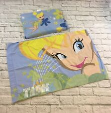 Disney Tinkerbell Fairy Twin Flat Sheet & Pillow Case Bed Blue Vintage Fabric