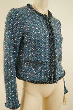 Tory Burch Azul Y Plateado Metálico Boucle Tweed Manga Larga Recortada Chaqueta UK10