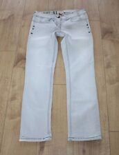 Denim blu chiaro River Island con cerniera vita bassa Slim Stonewashed jeans SZ 10/36 L 29