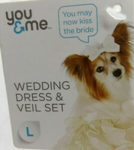 """You & Me Wedding Dress & Veil Set for Dogs Large 17""""-19"""" White"""