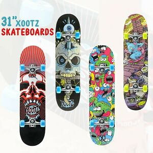 """XOOTZ 31"""" Skateboard Children & Kids Christmas Gift, Beginners Double Kick Maple"""