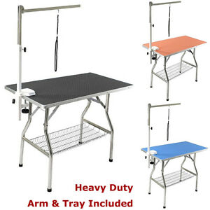 """32"""" Stainless Steel Frame Heavy Duty Pet Dog Grooming Table w/ Arm by Flying Pig"""