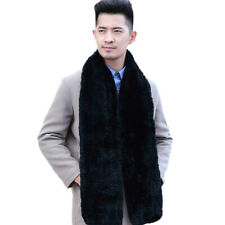 Men Scarf Real Rex Rabbit Fur Unisex Winter Warm Handmade Neckerchief l'180cm