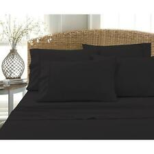 Bed Sheet Set Queen Size Black Solid Cotton Blend 800 Count 6 Piece Deep Pocket