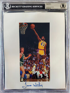JAMES WORTHY AUTOGRAPHED 8.5X11 PHOTO SHEET LOS ANGELES LAKERS BECKETT 196067