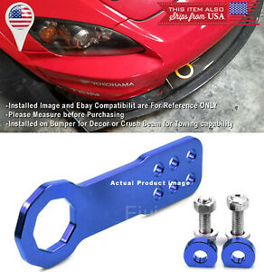 Aluminum Anodized Billet Blue Front Bumper Tow Hook Towing Kit For Toyota Scion