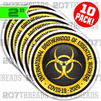 10-PACK YELLOW Essential Worker Stickers Hard Hat Decals Brotherhood Bio Hazard