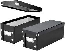 Set of 2 CD DVD Storage Holder Media Disc Organizer Faux Leather Black NEW